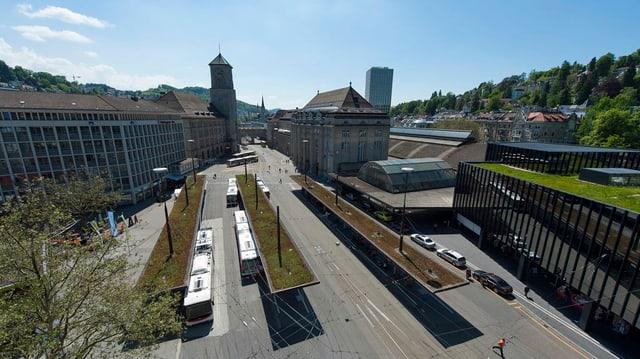 Der Bahnhofplatz St. Gallen aus der Vogelperspektive.