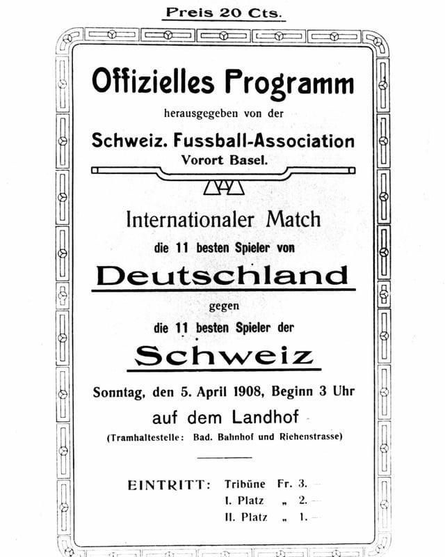 Das offizielle Match-Programm von 1908.