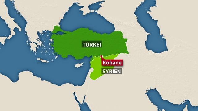 Kartenausschnit Türkei und Syrien, Kobane eingezeichnet.