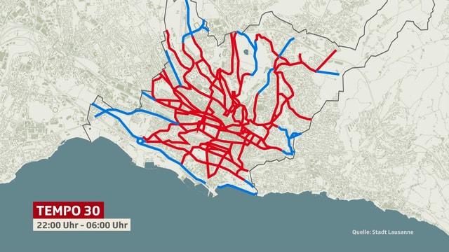 Strassenplan von Lausanne mit eingezeichneten Tempo 30-Zonen
