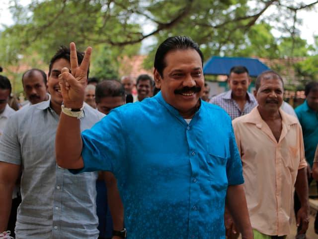 Rajapaksa im Wahlkampf 2015.