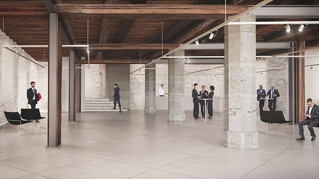 Visualisierung der neuen Wandelhalle im Freiburger Rathaus