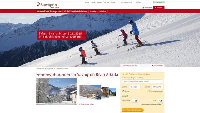 La pagina d'internet da la destinaziun Savognin Bivio Alvra.