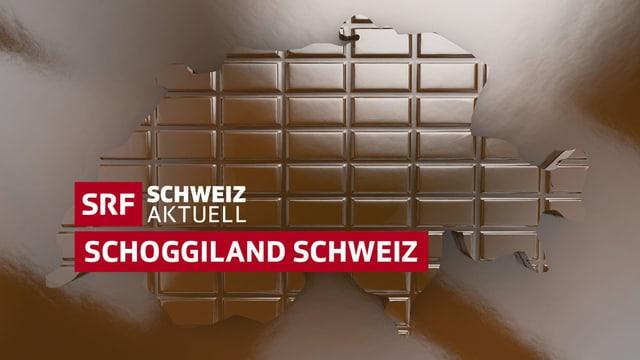 Logo Schoggiland Schweiz - Umriss der Schweiz aus Schokolade