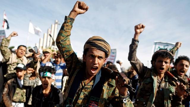 Im Bild: Unterstützer der Houthi
