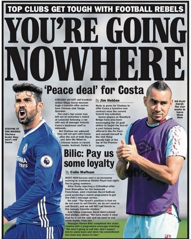 Diego Costa und Dimitri Payet auf einem Zeitungsbild.