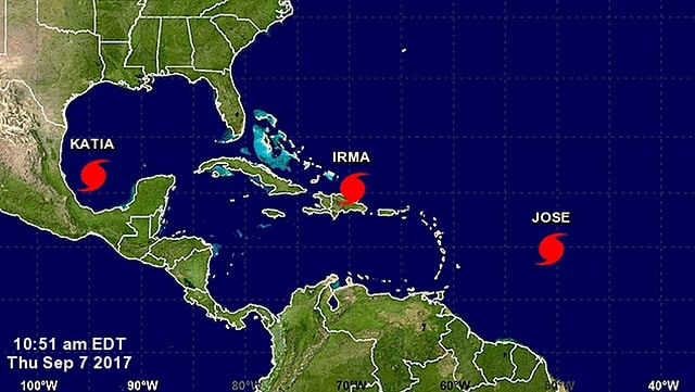 La regiun gronda da Mexico fin ora en l'Atlantic cun trais huricans.