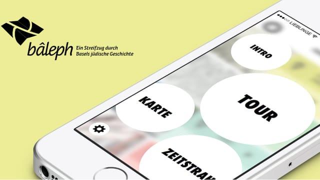 Flyer mit Schriftzug und Iphone-Bild