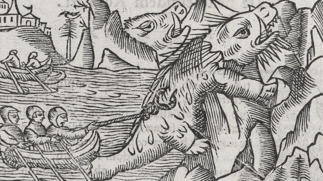 Ein alter Druck zeigt ein Fischerboot, die mit einem Seil versuchen, ein saurierähnliches Wesen zu fangen, das ans Ufer klettert.