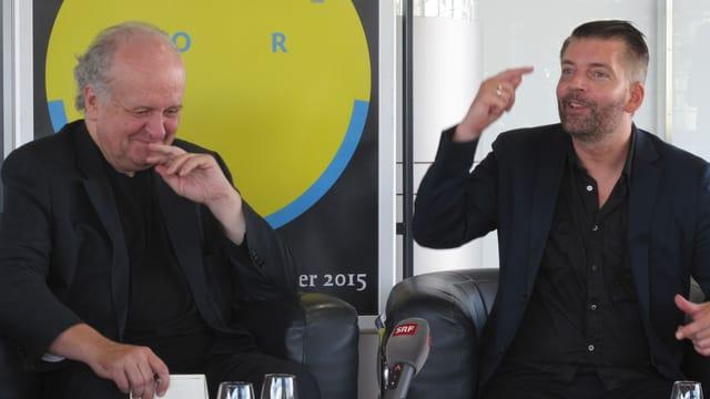 Wolfgang Rihm und Matthias Pintscher bei der Medienkonferenz.