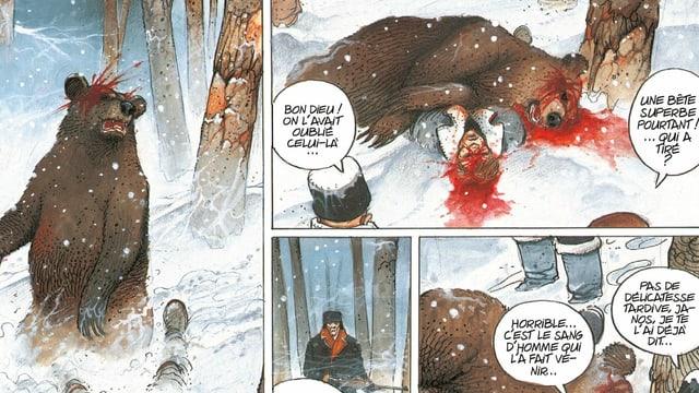 Comic einer Bärenjagd