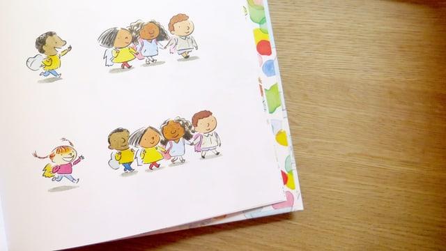Offene Seite eines Kinderbuchs.