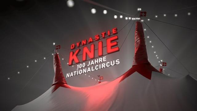 Visual Zirkus Knie in roter Schrift vor nächtlichem Himmel