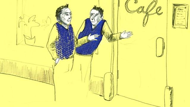 Illustration: Zwei Personen mit kürzeren Haaren und blauem Veston stehen vor einem Café. Die eine Person weist der anderen den Weg zur Türe.