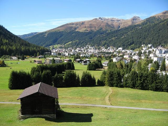 Blick von einer erhöhten Wiese auf das grosse Bergdorf Davos bei strahlendem Wetter.