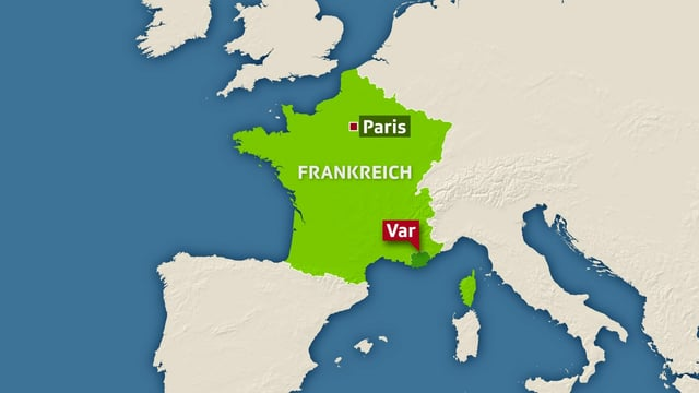 Karte von Frankreich mit dem Departement Var im Süden des Landes