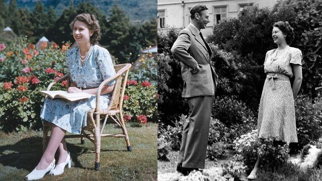 Collage aus zwei Bildern. Die junge Elizabeth einmal in einem blauen Blümchenkleid auf einem Stuhl sitzend. Auf dem anderen ist Elizabeth mit ihrem Vater George zu sehen. Auch hier trägt sie ein gemustertes Kleid.