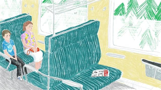Zeichnung von zwei Menschen, die im Zug sitzen.