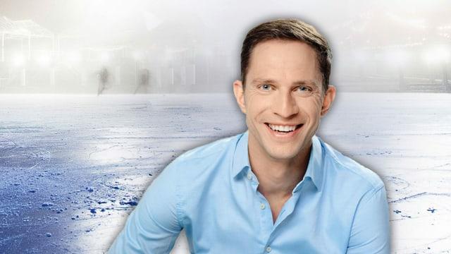 Porträtbild von Adrian Küpfer, im Hintergrund eine Eisfläche (Bildmontage SRF)