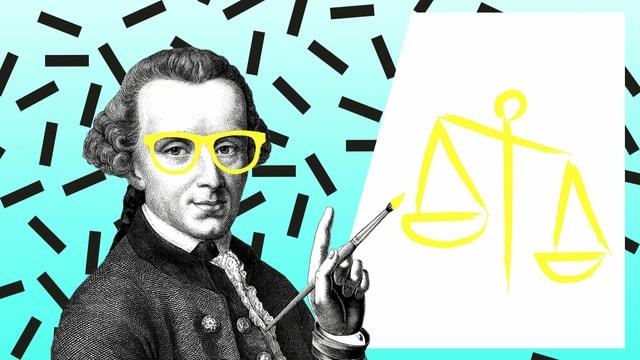 Zeichnung: Kant mit Brille zeichnet eine Waagschale auf eine Leinwand