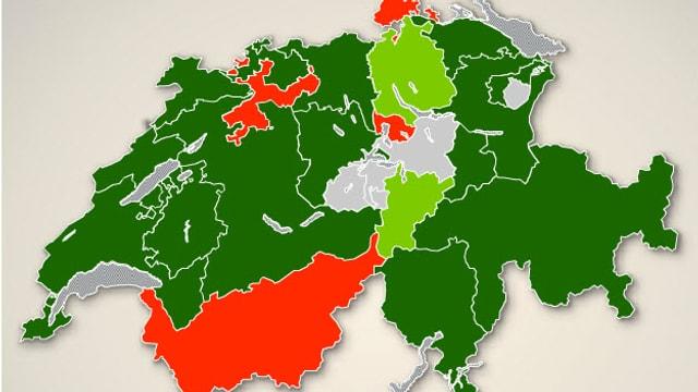 Schweizer Karte mit eingefärbten Kantonen