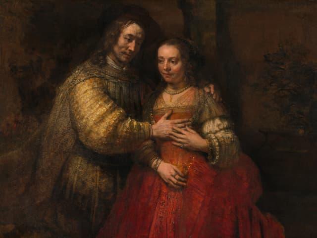 Gemälde: Ein Brautpaar in festlicher Kleidung.