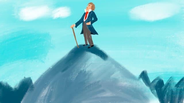 Illustration: Beethoven allein auf einem hohen Berg