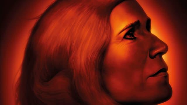 Bildausschnitt aus dem Poster von «Der Unschuldige»: Eine Frau blickt im Profil sorgenvoll nach rechts.