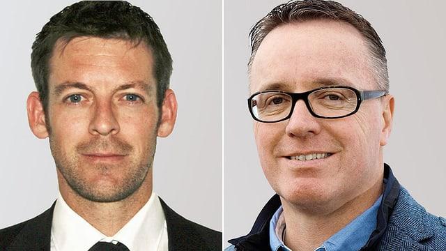Porträtbilder von zwei Männern in Anzügen.