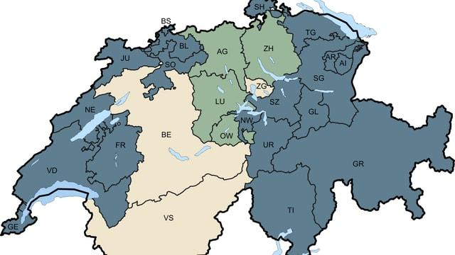 Schweizer Karte nach Kanton: Wer hat die Aufsicht über die Kindertagesstätten. Gemeinde oder Kanton