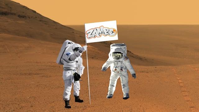 Zwei Astronauten auf dem Mars stellen eine «Zambo»-Fahne.