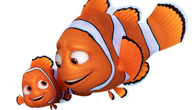 Nemo und Marlin schwimmen nebeneinander.