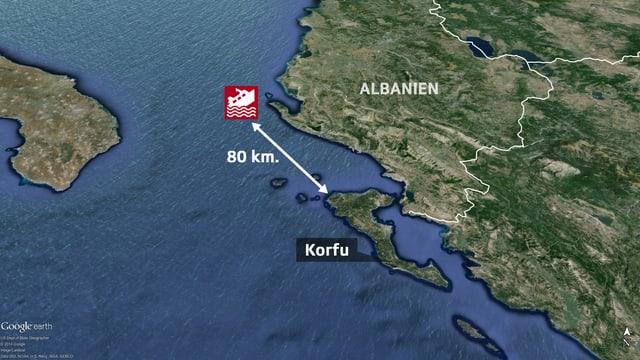 Karte mit dem Ort der Fähre.