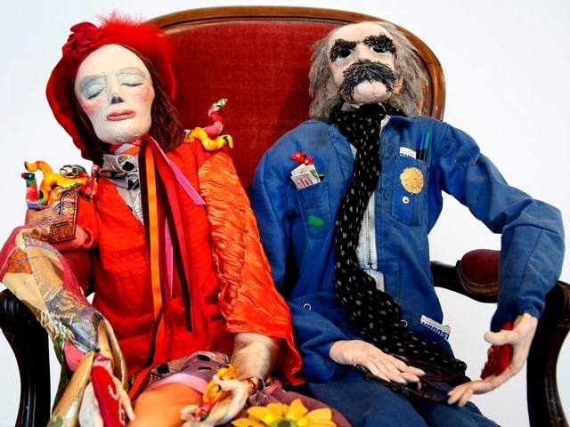 Das Werk «Les Amoureux» (1988/1989) zeigt Niki de Saint Phalle und Jean Tinguely, aufgenommen im Museum Tinguely in Basel.