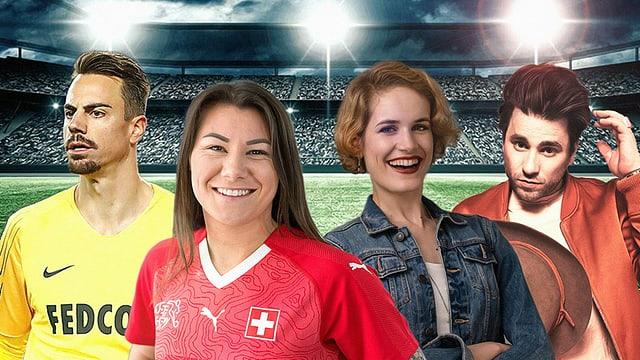 Bist du besser als unsere Tippspiel-Experten Diego Benaglio, Ramona Bachman, Michelle Kalt und Baschi (v.l.)?