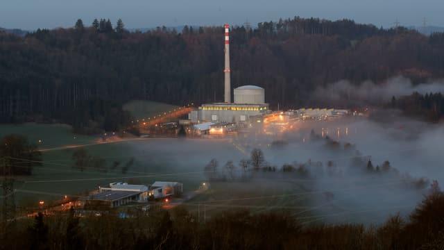 AKW Mühleberg im anbrechenden Tageslicht, Nebelschwaden umgeben das Kraftwerk.