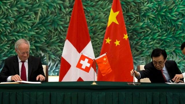 Flaggen von China und der Schweiz.