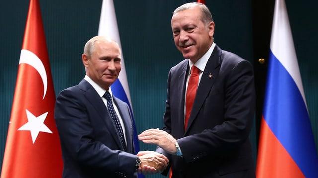 Putin und Erdogan geben sich die Hände, im Hintergrund Fahnen der beiden Länder.