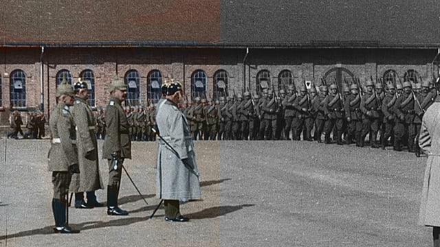 Offiziere und Soldaten auf einem Kasernenareal.