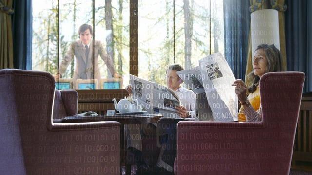 Symbolbild: Mann und Frau beim Zeitung lesen.
