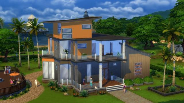 Ein dreistöckiges Sim-Haus.
