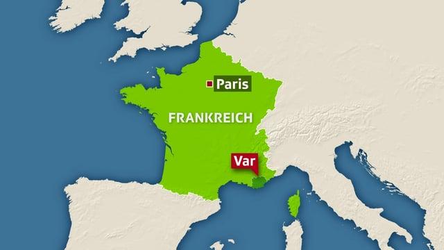 Karte von Frankreich, hervorgehoben das Departement Var im Südosten Frankreichs.