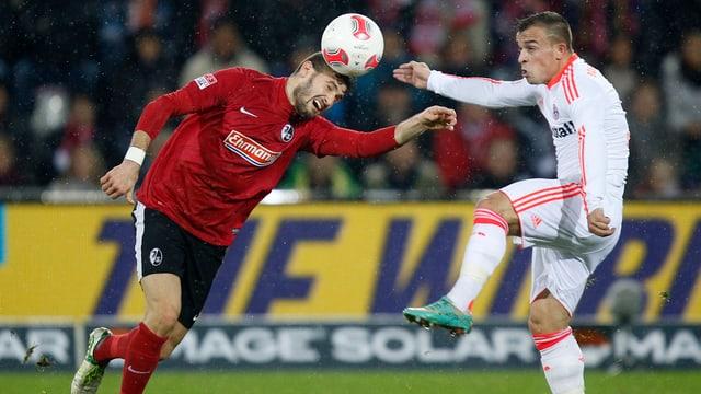 Xherdan Shaqiri (im Duell mit Daniel Caligiuri) sicherte sich mit Bayern die Herbstmeisterschaft.