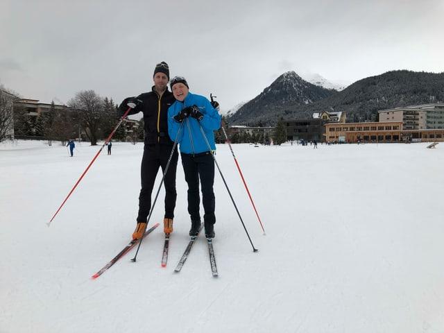Marcel und Gaudenz beim Langlaufen