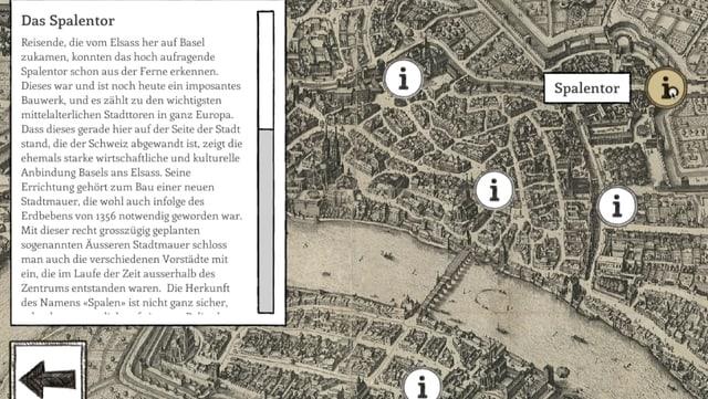 Screenshot des Spiel: Eine historische Karte von Basel samt einer Textbox mit vielen Informationen zum Spalentor.