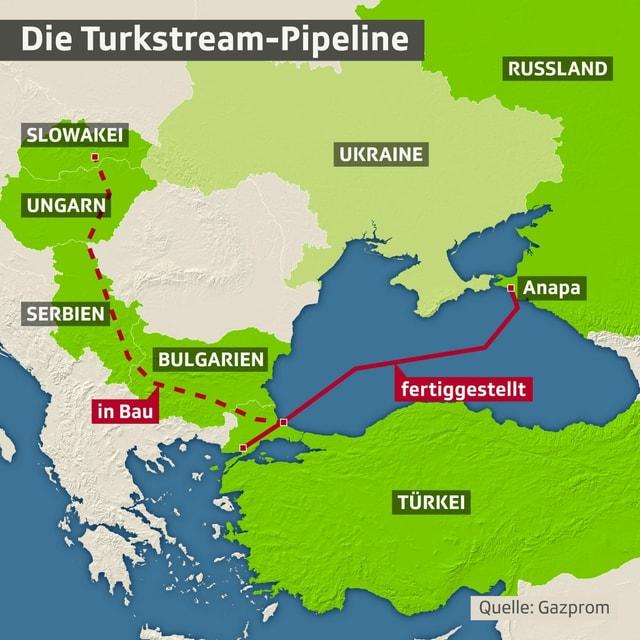 Karte der Turkstream-Pipeline.