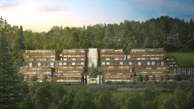Neue Hotelanlage von Wald umgeben