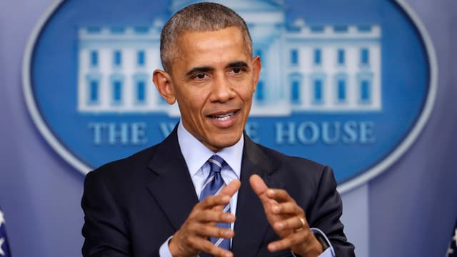 Präsident Obama spricht an einer Medienkonferenz