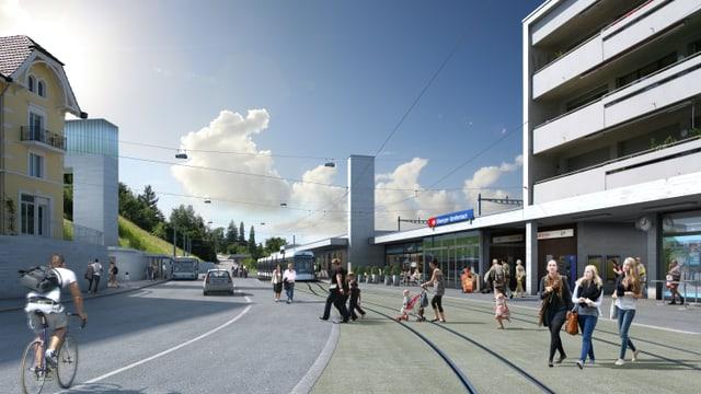 Visualisierung der Limmattalbahn beim Bahnhof Killwangen.