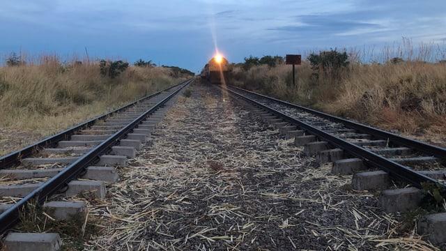 In der Ferne kündigt ein Licht den Zug an.